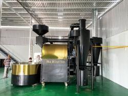 Máy rang cà phê 120kg hot air hồi khí