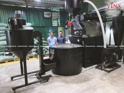 Máy rang cà phê 60kg double drum hot air hồi khí Auto